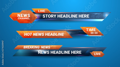 Fototapeta Graphic set of Broadcast News Lower Thirds Banner for Television, Video and Media Channel obraz