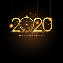 Happy New Year 2020. Gold Numb...