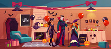 Halloween Characters In Party Decorated Interior, Vampire, Witch And Cat Woman In Scary Room With Fireplace, Pumpkins, Friends Celebrating Happy Holiday, Table With Treat. Cartoon Vector Illustration