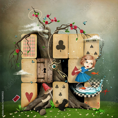 Photo Conceptual fantasy illustration of Wonderland with Alice mess in  cards