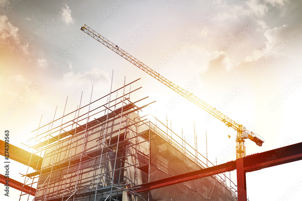 Fototapeta Construction and Building, power plant construction, Architectural landscape of  building in central town