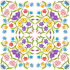 Floral geometric seamless watercolor background. blots, drips, careless watercolor. Handmade illustration