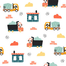 Seamless Pattern With Truck And Concrete Mixer. Childish Funny Print. Vector Hand Drawn Illustration.