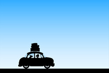 Cartoon Retro Car On Road. Illustration With Silhouettes Of Woman And Dog Traveling In Camper. Family Road Trip. Blue Pastel Background