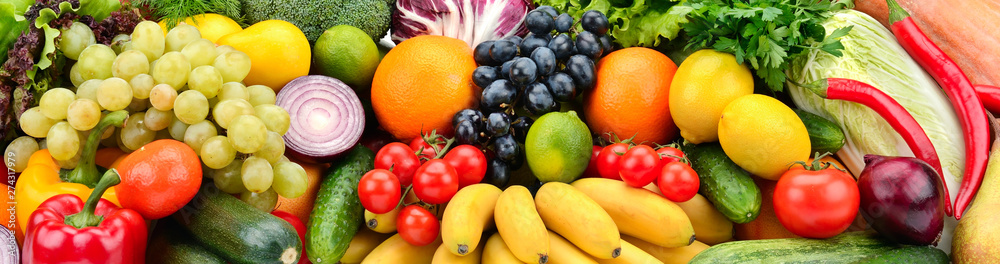 Fototapeta Background fruits and vegetables. Healthy eating