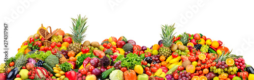 Poster Légumes frais Big pile fruits and vegetables isolated on white