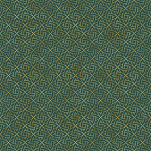 Gold Celtic Knot Seamless Pattern - Beautiful Gold Celtic Knot Design On Green Background