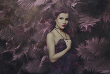 Beautiful Fairy Woman In Magic Forest Portrait