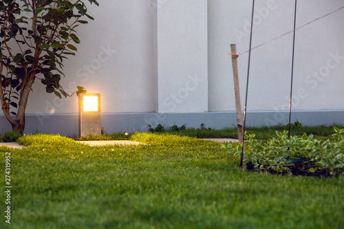 Foto auf AluDibond Rosa dunkel metal floor lantern lighting the backyard trail with green plants from the lawn and wood.