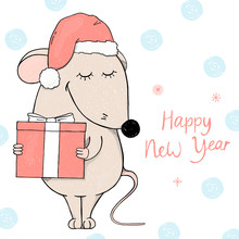 Cute Mouse In A Santa Hat Holding A Gift And Smiling. Postcard For The New Year And Christmas.