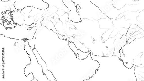 Photo  World Map of MIDDLE EAST REGION: Asia Minor, Near East, Levant, Turkey, Armenia, Syria, Iraq, The Emirates, Saudi Arabia, Persian Gulf, Iran, Pakistan
