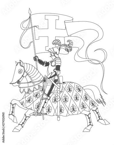 Photo Knight in armor on a horse with a flag in his hand