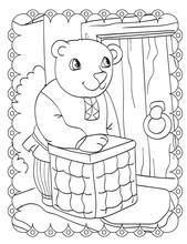 Coloring Book Of Bear Knocks On The Door