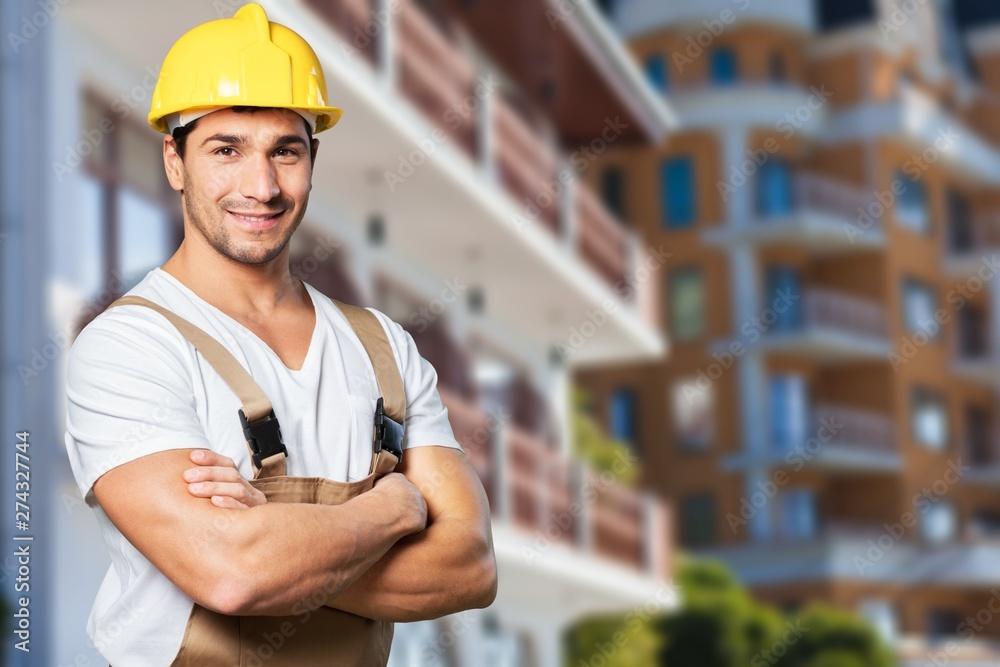 Fototapety, obrazy: Construction satisfied activity adult artisan belt brick layer