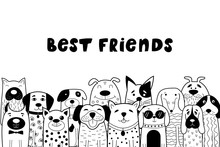Black And White Card With Doodle Dogs.