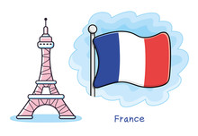 Eiffel Tower Isolated, Paris Symbol, France Flag Icon.