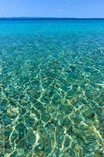 Close-up photo of clear, shallow sea water in Sithonia, Greece Wallpaper Mural