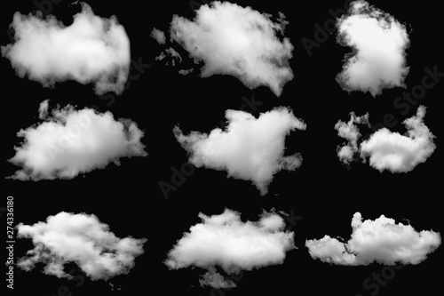 Aluminium Prints Heaven Set of clouds white on a isolated elements black background.