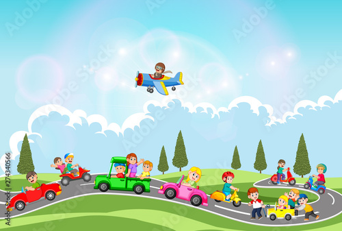 Tuinposter Cartoon cars the children are playing with the car and another transportation in the beautiful day