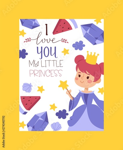 I love you my little princess invitation, greeting card, poster vector illustration Canvas Print