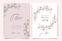 Rose Gold Wedding Invitation, Floral Invite Thank You, Rsvp Modern Card Design In Hand Drawn Flower With Red Berry And Leaf Greenery  Branches Decorative Vector Elegant Rustic Template