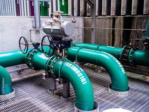 Pneumatic valve for On-Off type which apply industrial zone and popular to install with tank, pipe, pump and pond in Combined-Cycle Co-Generation Power Plant Wallpaper Mural
