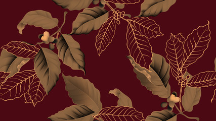 Fototapeta Do kuchni Coffee tree seamless pattern, branch of coffee tree in golden brown on dark red background, vintage style