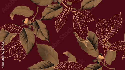 Coffee tree seamless pattern, branch of coffee tree in golden brown on dark red background, vintage style