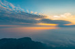 • sea of clouds in the morning sun, at the top of Emei Mountain in Sichuan Province, China