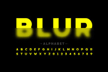 Blurred Style Font Design, Alphabet Letters And Numbers