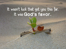 God's Favor From Bible Verse With Sandy Beach And A Blooming Morning Glory Flower Design For Christianity To Encourage, Daily Inspiration And  Motivation.