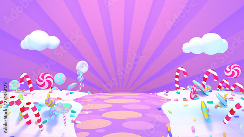 canvas print motiv - tykcartoon : Sweet candy world. 3d rendering picture.