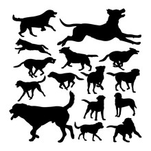Labrador Dog Animal Silhouettes. Good Use For Symbol, Logo, Web Icon, Mascot, Sign, Or Any Design You Want.