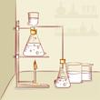 Laboratory equipments with liquids.
