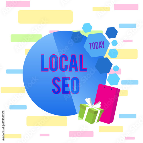 Writing note showing Local Seo  Business concept for helps