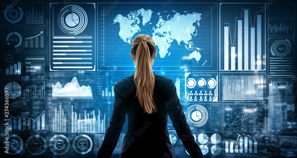 Fototapeta Big Data Technology for Business Finance Analytic Concept. Modern graphic interface shows massive information of business sale report, profit chart and stock market trends analysis on screen monitor.