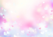 Soft Colors Pink Violet Blurred Bokeh Hearts Background,valentine Texture.