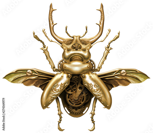 Leinwand Poster Beautiful steampunk brass mechanical beetle