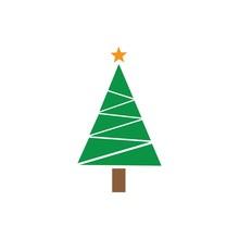 Christmas Tree Cedar Tree With Star Vector Icon Illustration Design