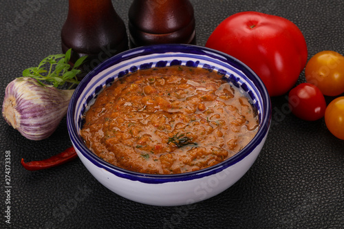 Fotografering  Famous Spanish gazpacho tomato soup