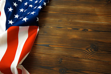 American Flag On A Old Wooden Desk Top View