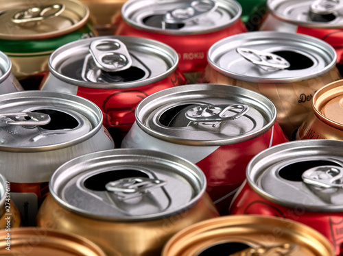 Empty aluminium drinks cans for recycling. Wallpaper Mural