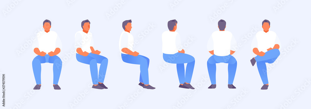 Fototapeta Sitting man from different sides
