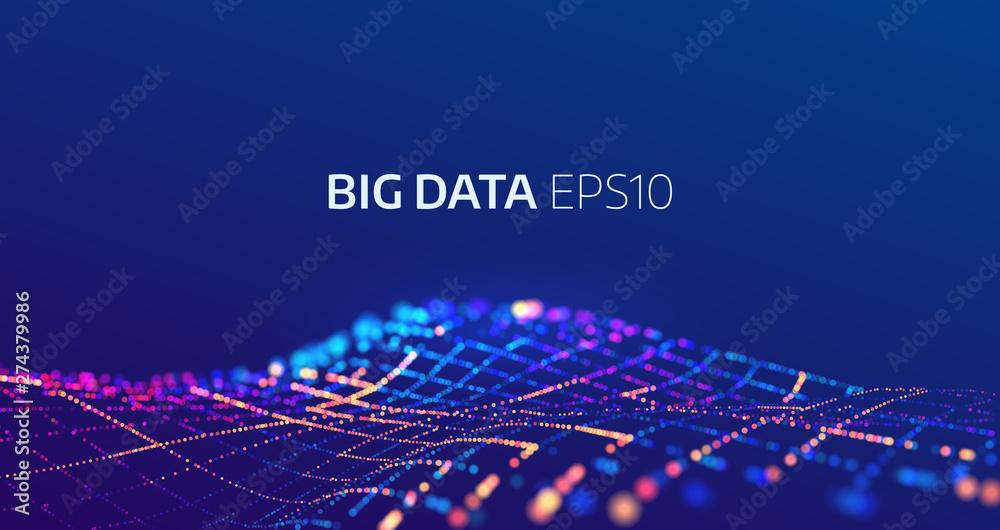 Fototapeta Big data abstract vector background. Bigdata code visualization