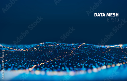 Vector particle grid technology background. Data mesh surface. Landscape night light