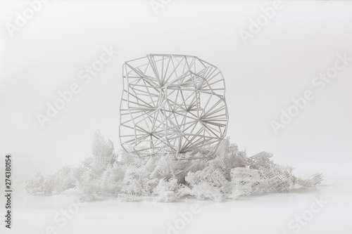 Canvastavla Abstrakte Netzstruktur auf 3D-Druck Stütz- Material