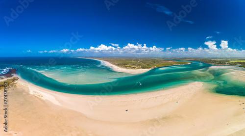 Drone view of Elliott Heads Beach and River, Queensland, Australia Canvas Print