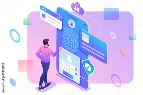 izometryczny-mlody-czlowiek-z-telefonem-komorkowym-ochrona-danych-zamek-biometryczny-koncepcja-projektowania-stron-internetowych