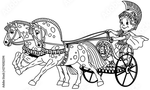 Photo cartoon boy warrior in a roman chariot pulled by two horses