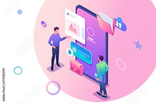 izometryczny-mlodych-mezczyzn-stojacych-w-poblizu-ekranu-telefonu-komorkowego-korzystanie-z-aplikacji-mobilnej-koncepcja-projektowania-stron-internetowych